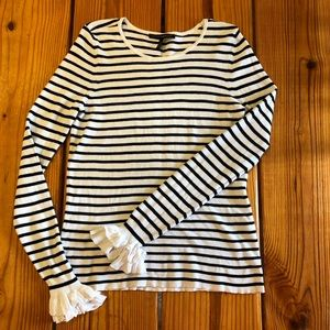 White House Black Market striped ruffle sweater -L